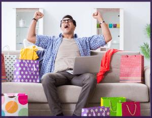 Homme qui fait un achat en ligne après les conseils de son fournisseur internet